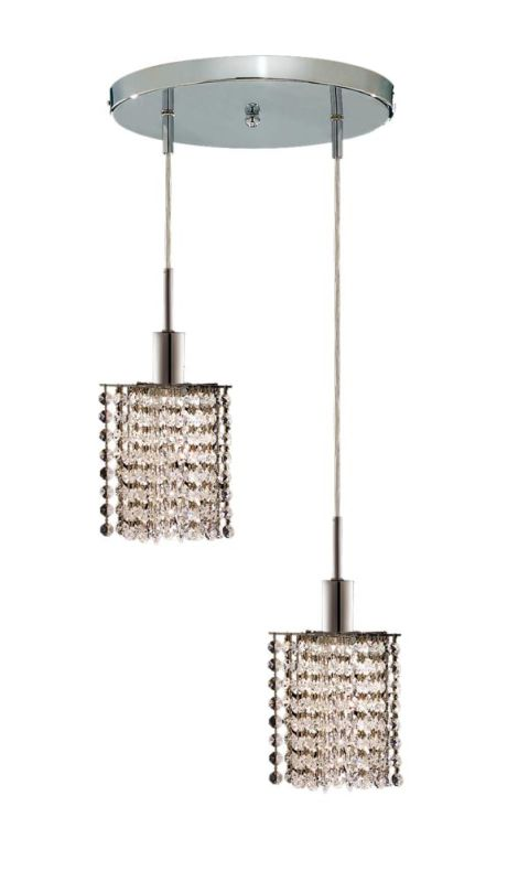 Elegant Lighting 1282D-R-P-CL Mini 2-Light Crystal Pendant Finished