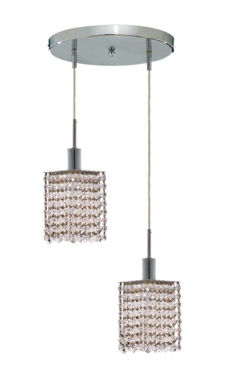 Elegant Lighting 1282D-R-S-CL Mini 2-Light Crystal Pendant Finished