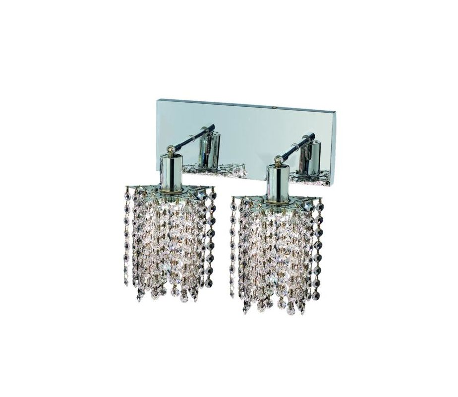 Elegant Lighting 1282W-O-P-CL Mini 2-Light Crystal Wall Sconce