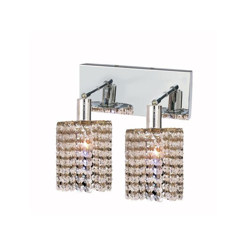 Elegant Lighting 1282W-O-R-CL Mini 2-Light Crystal Wall Sconce