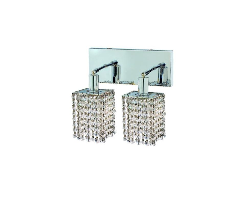 Elegant Lighting 1282W-O-S-CL Mini 2-Light Crystal Wall Sconce