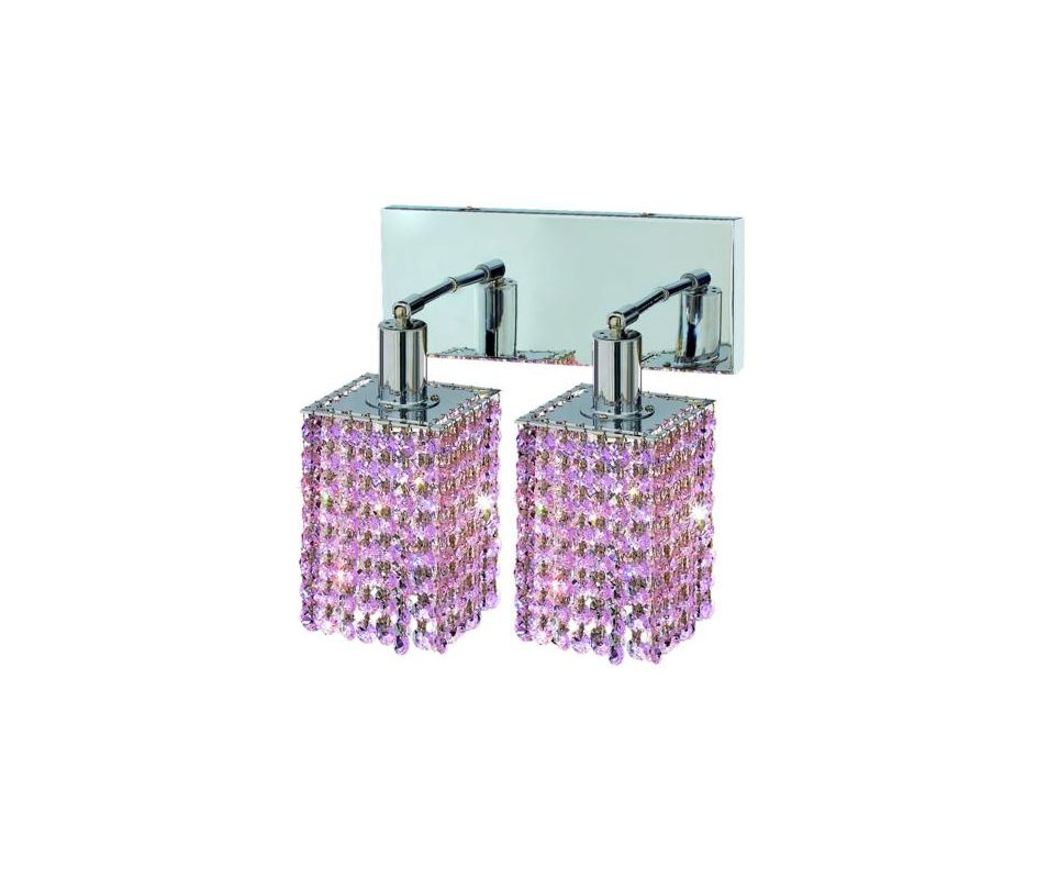 Elegant Lighting 1282W-O-S-RO Mini 2-Light Crystal Wall Sconce