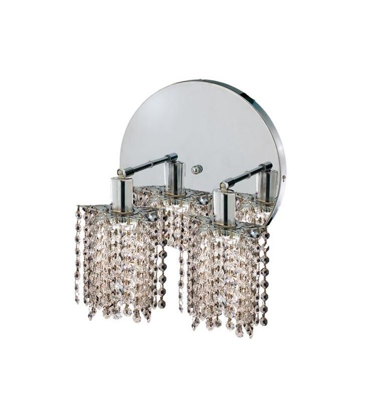 Elegant Lighting 1282W-R-P-CL Mini 2-Light Crystal Wall Sconce