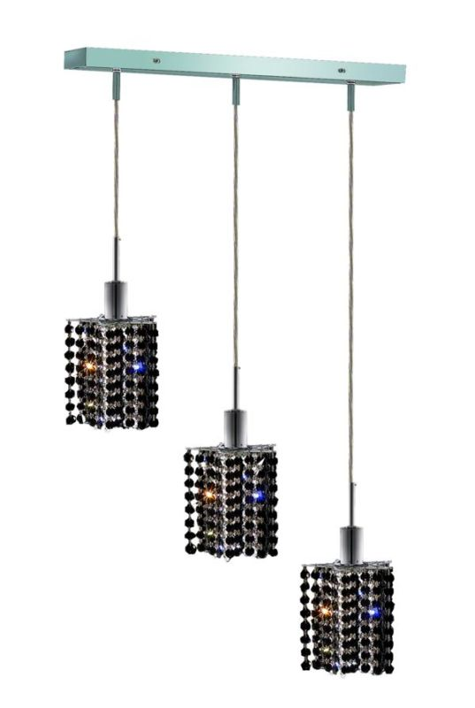 "Elegant Lighting 1283D-O-P-JT Mini 3-Light Crystal Pendant Finished Sale $1144.00 ITEM: bci2008917 ID#:1283D-O-P-JT/SS Product Features: Finish: Royal Cut Jet Black Crystal , Light Direction: Down Lighting , Width: 14.5"" , Height: 8"" , Bulb Type: Halogen , Number of Bulbs: 3 , Fully covered under Elegant Lighting warranty , Location Rating: Indoor Use :"