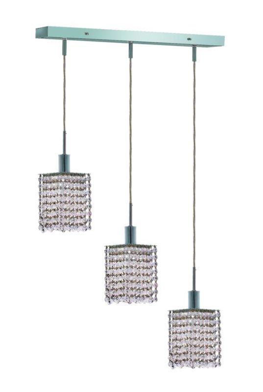 Elegant Lighting 1283D-O-S-CL Mini 3-Light Crystal Pendant Finished