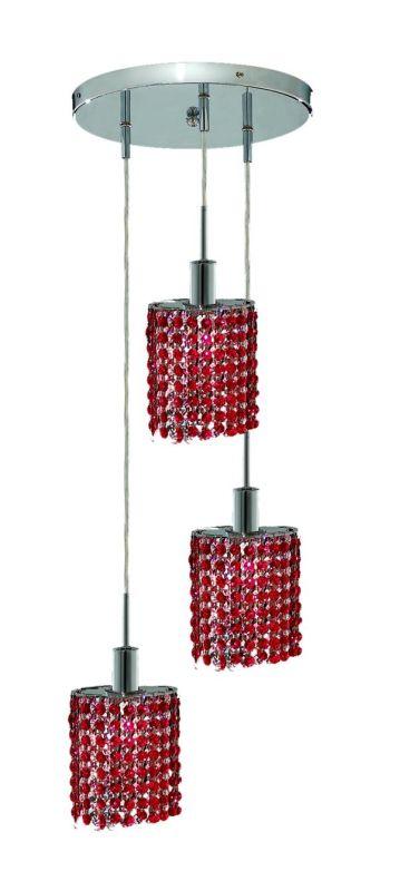 Elegant Lighting 1283D-R-E-BO Mini 3-Light Crystal Pendant Finished
