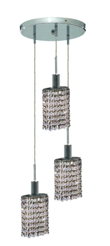 Elegant Lighting 1283D-R-E-CL Mini 3-Light Crystal Pendant Finished