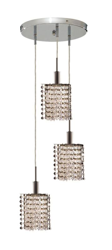 Elegant Lighting 1283D-R-P-CL Mini 3-Light Crystal Pendant Finished