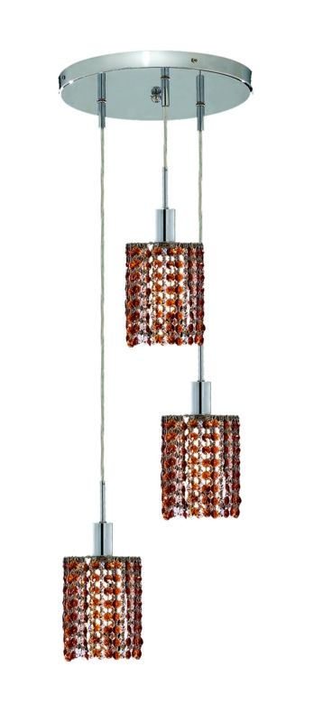 Elegant Lighting 1283D-R-R-TO Mini 3-Light Crystal Pendant Finished