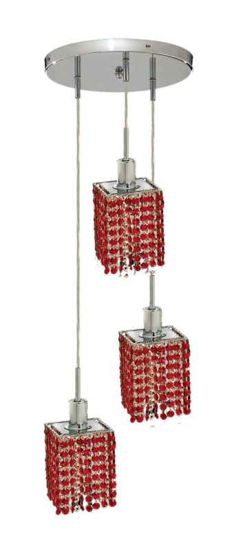 Elegant Lighting 1283D-R-S-BO Mini 3-Light Crystal Pendant Finished