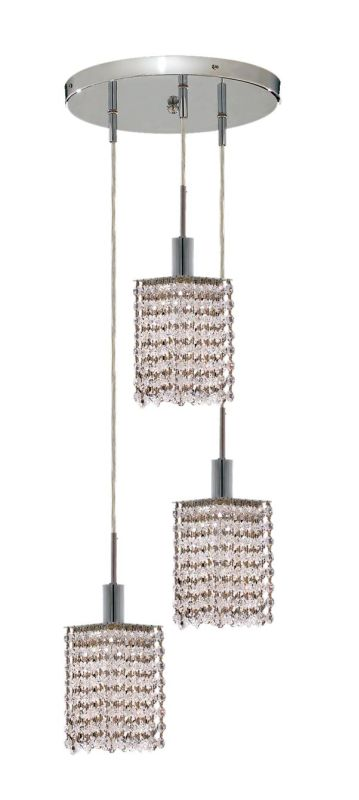 Elegant Lighting 1283D-R-S-CL Mini 3-Light Crystal Pendant Finished