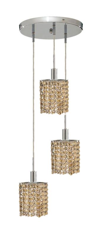 Elegant Lighting 1283D-R-S-GT Mini 3-Light Crystal Pendant Finished