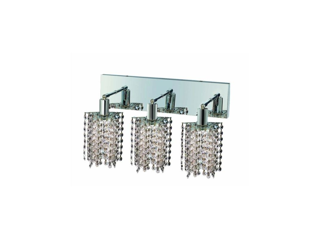 Elegant Lighting 1283W-O-P-CL Mini 3-Light Crystal Wall Sconce