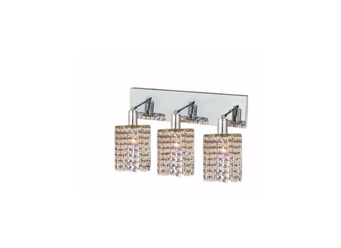 Elegant Lighting 1283W-O-R-CL Mini 3-Light Crystal Wall Sconce