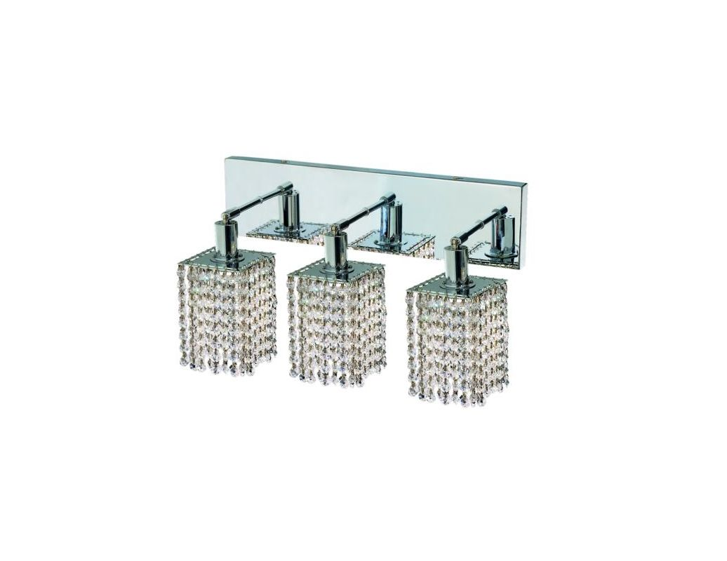 Elegant Lighting 1283W-O-S-CL Mini 3-Light Crystal Wall Sconce