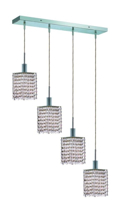 Elegant Lighting 1284D-O-S-CL Mini 4-Light Crystal Pendant Finished