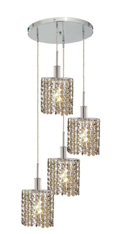 Elegant Lighting 1284D-R-E-GT Mini 4-Light Crystal Pendant Finished