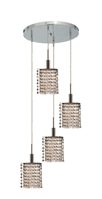 Elegant Lighting 1284D-R-P-CL Mini 4-Light Crystal Pendant Finished