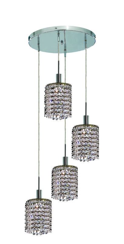 Elegant Lighting 1284D-R-R-CL Mini 4-Light Crystal Pendant Finished