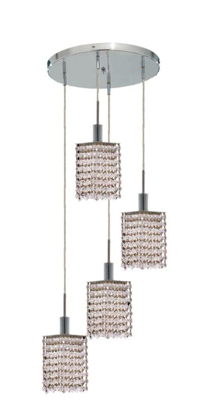 Elegant Lighting 1284D-R-S-CL Mini 4-Light Crystal Pendant Finished
