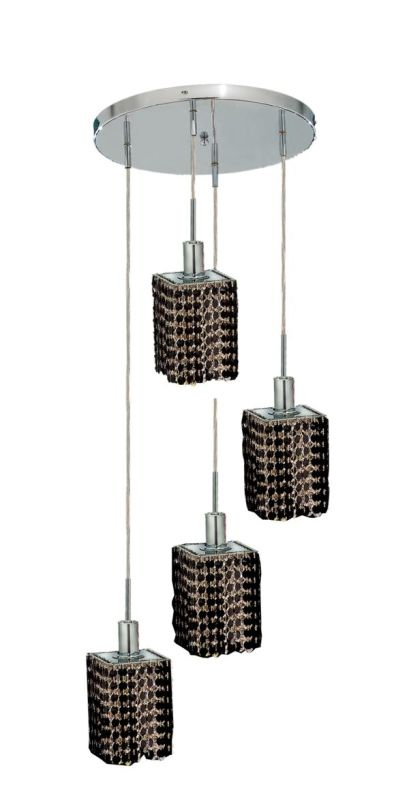 Elegant Lighting 1284D-R-S-JT Mini 4-Light Crystal Pendant Finished