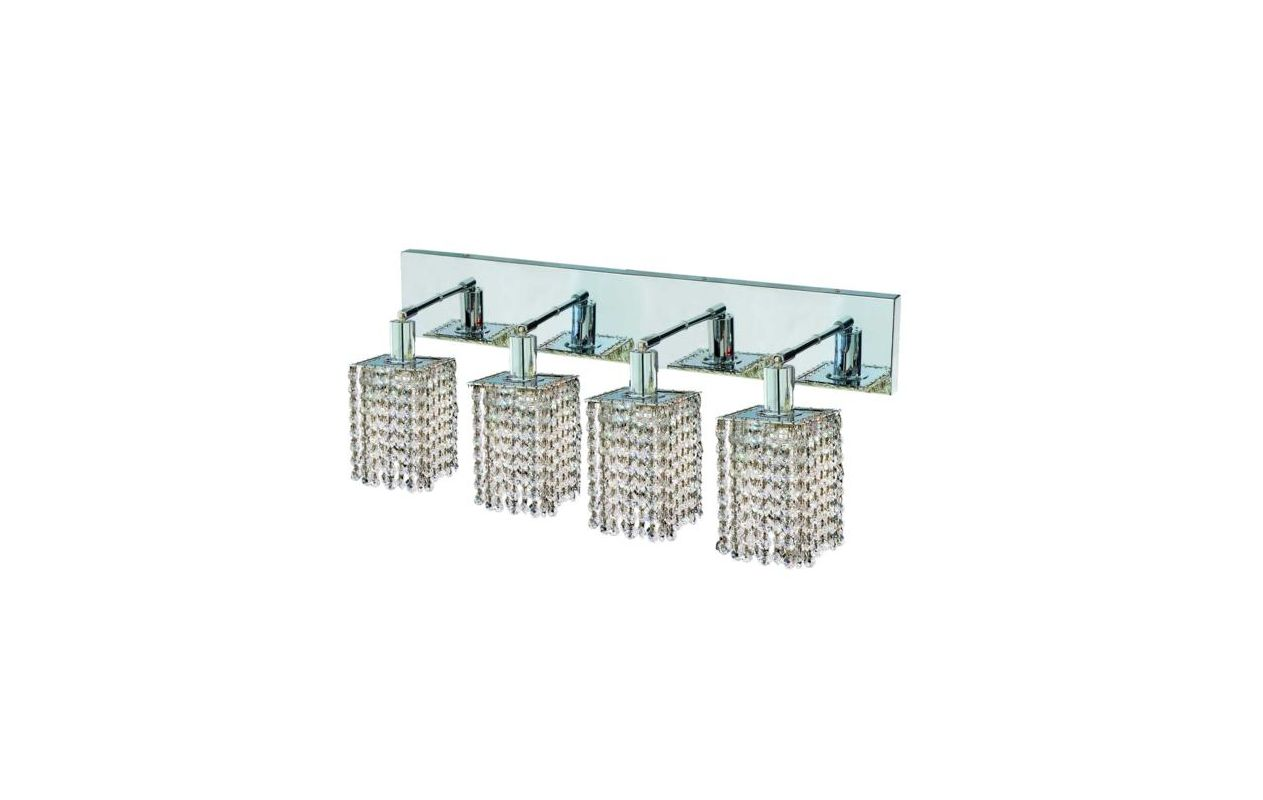 Elegant Lighting 1284W-O-S-CL Mini 4-Light Crystal Wall Sconce