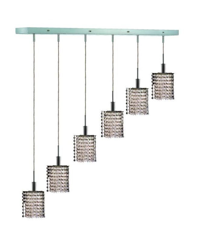 Elegant Lighting 1286D-O-P-CL Mini 6-Light Crystal Pendant Finished