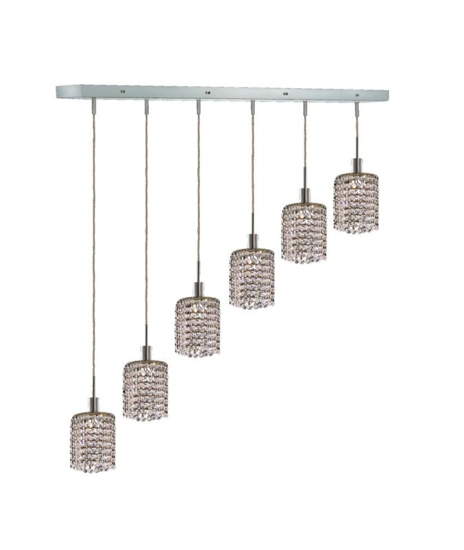 Elegant Lighting 1286D-O-R-CL Mini 6-Light Crystal Pendant Finished