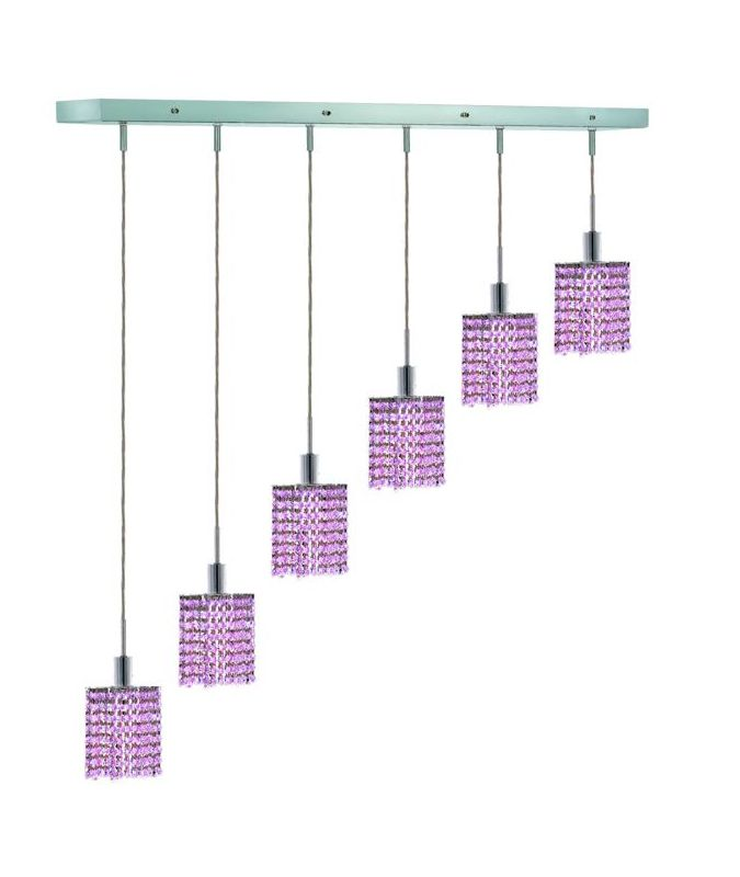 Elegant Lighting 1286D-O-S-RO Mini 6-Light Crystal Pendant Finished