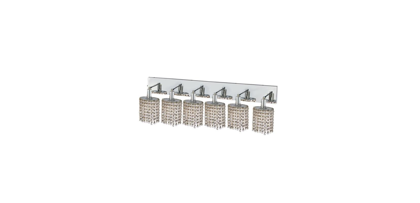 Elegant Lighting 1286W-O-E-CL Mini 6-Light Crystal Wall Sconce