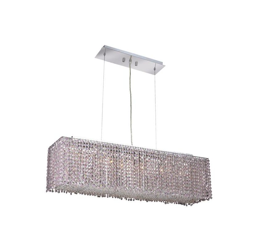Elegant Lighting 1291D38C-RO Moda 6-Light Crystal Pendant Finished in