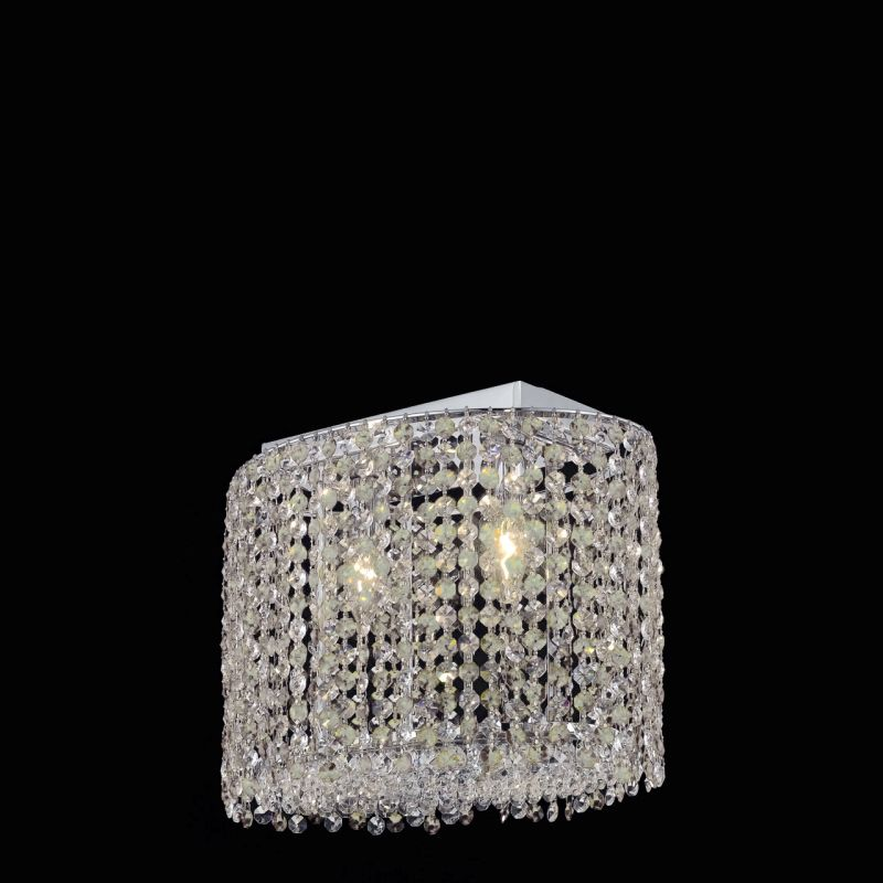 Elegant Lighting 1292D14C-CL Moda 2 Light Crystal Wall Sconce with