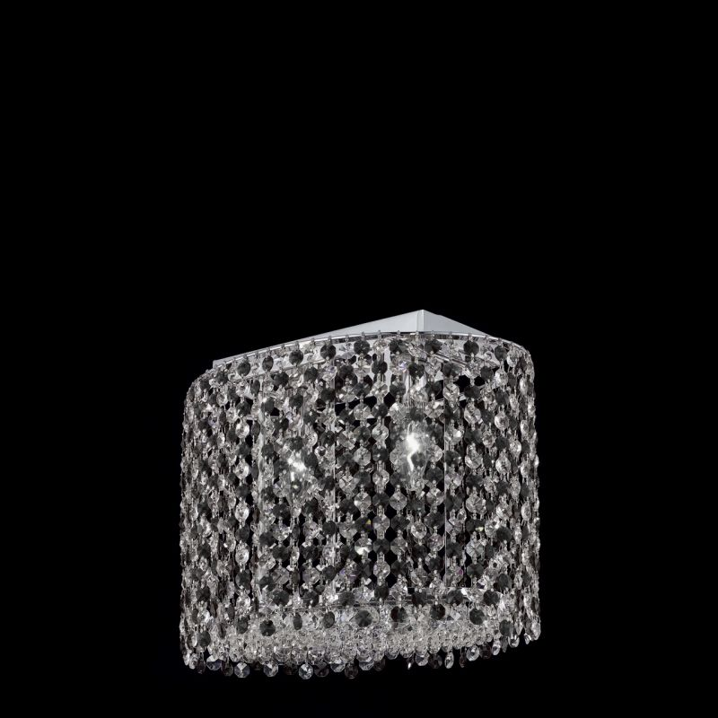 Elegant Lighting 1292D14C-JT Moda 2 Light Crystal Wall Sconce with Jet