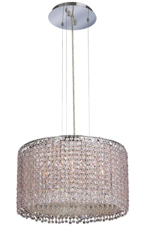 Elegant Lighting 1293D18C-RO Moda 5-Light Crystal Pendant Finished in
