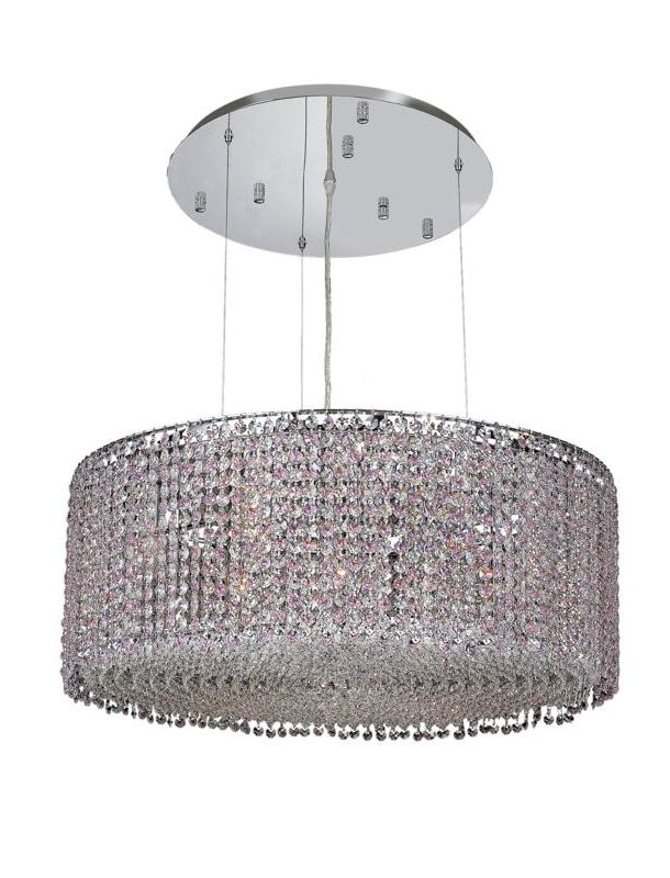 Elegant Lighting 1293D26C-RO Moda 9-Light Crystal Pendant Finished in