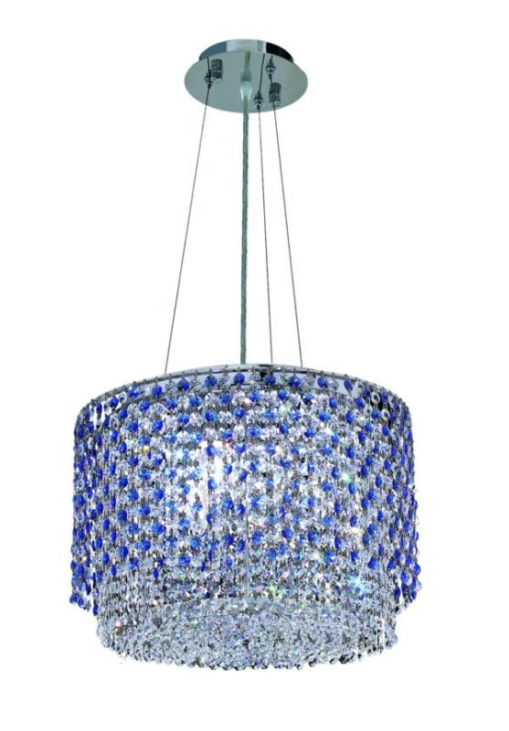 Elegant Lighting 1298D16C-SA Moda 4-Light Crystal Pendant Finished in