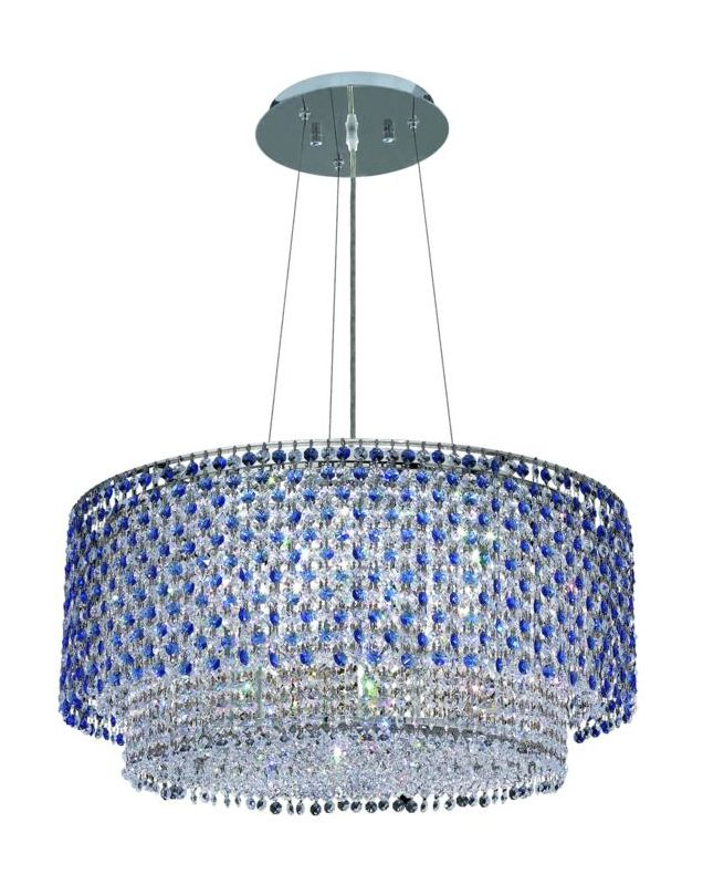 Elegant Lighting 1298D24C-SA Moda 5-Light Crystal Pendant Finished in