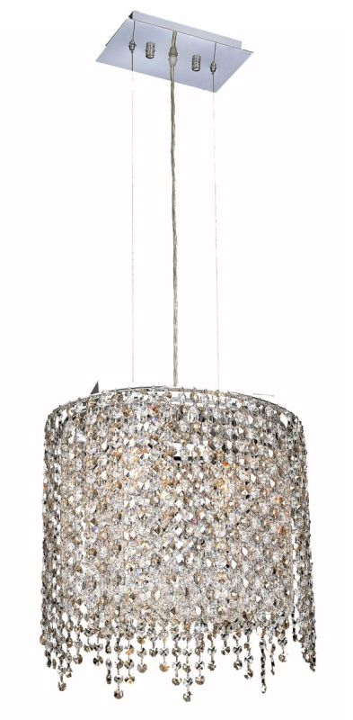 Elegant Lighting 1392D14C-GT Moda 2 Light Crystal Pendant with Smoky
