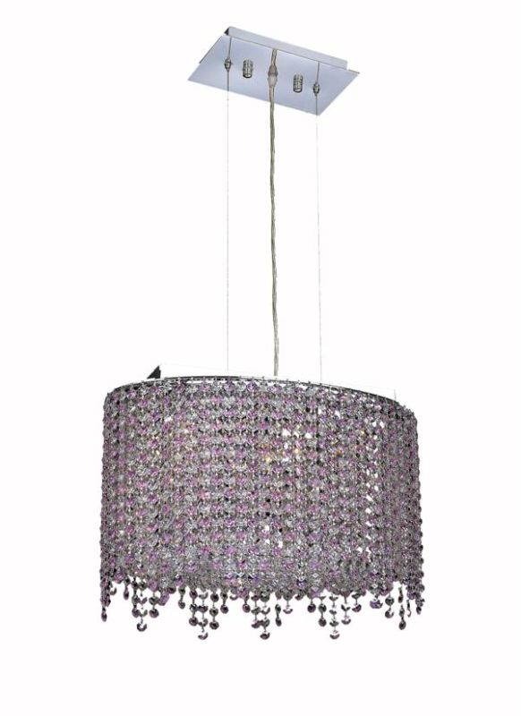Elegant Lighting 1392D18C-RO Moda 3-Light Crystal Pendant Finished in