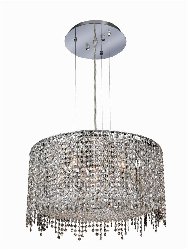 Elegant Lighting 1393D22C-GT Moda 6-Light Crystal Pendant Finished in