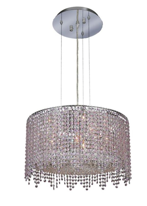 Elegant Lighting 1393D22C-RO Moda 6-Light Crystal Pendant Finished in