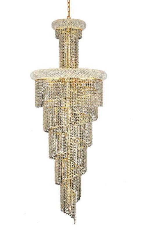 Elegant Lighting 1800SR22G Spiral 22-Light 2 Tier Crystal Chandelier