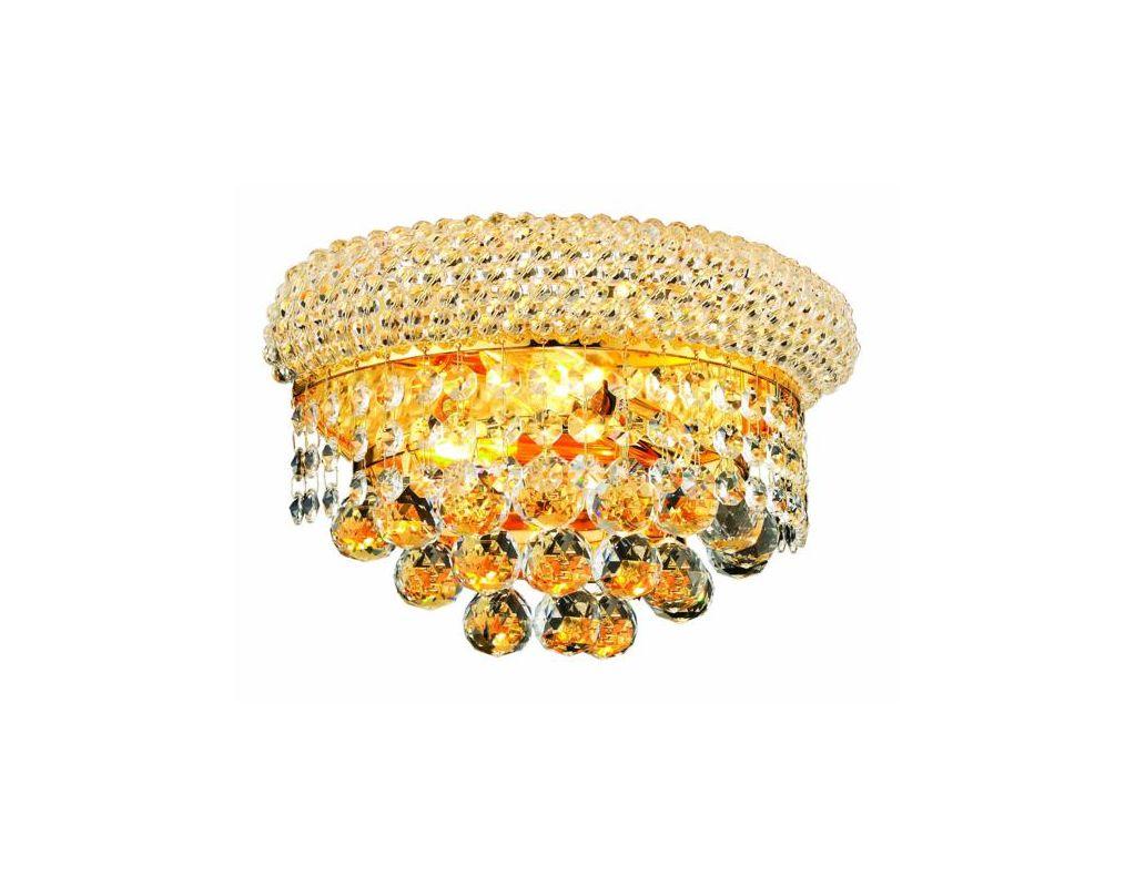 Elegant Lighting 1800W12G Primo 2-Light Crystal Wall Sconce Finished