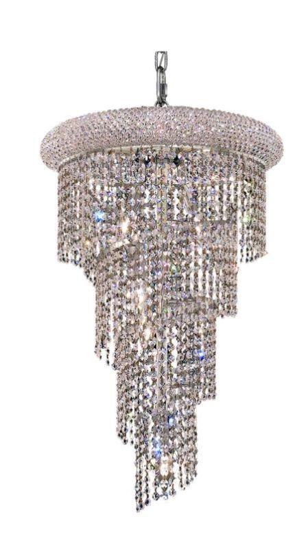 Elegant Lighting 1801SR16C Spiral 8-Light Four-Tier Crystal