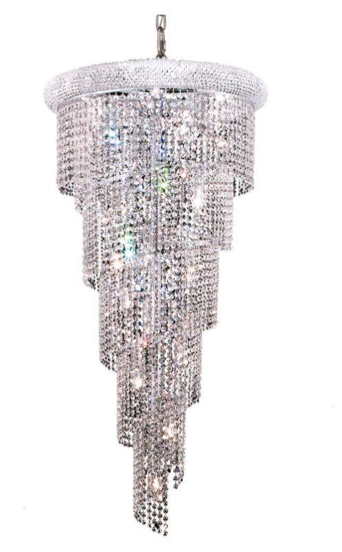 Elegant Lighting 1801SR22C Spiral 18-Light Single Tier Crystal