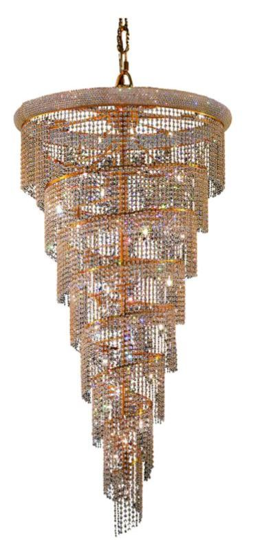 Elegant Lighting 1801SR36G Spiral 26-Light Single Tier Crystal