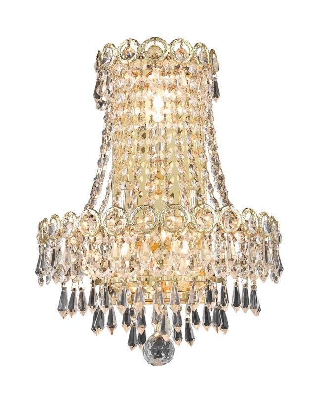 Elegant Lighting 1902W12SG Century 3-Light Crystal Wall Sconce
