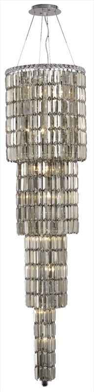 "Elegant Lighting 2030G66C-GT Maxim 18-Light Four-Tier Crystal Sale $32024.00 ITEM: bci2013389 ID#:2030G66C-GT/SS UPC: 848145039093 Elegant Lighting 2030G66C-GT Maxim 18-Light, Four-Tier Crystal Chandelier, Finished in Chrome with Smoky Golden Teak Crystals Elegant Lighting 2030G66C-GT Features: Base Finish: Chrome with Smoky Golden Teak Crystal Choose from Royal Cut or Swarovski Elements Crystal Types: Royal Cut- a combination of high quality, lead-free, machine cut and polished crystals, and full-lead machine-cut crystals, whose appearance rivals that of a more expensive chandelier crystal Swarovski Elements- An exercise in technical perfection, Swarovski Elements crystal meets all standards of perfection. It is original, flawless and brilliant, possessing lead oxide in excess of 33%. Made in Austria, each facet is perfectly cut and polished by machine to maintain optical purity and consistency Uses (18) 60-Watt Candelabra Base Bulbs (not included) Hanging weight 99 lbs Includes 72 inches of chain/wire for installation Four tier chandelier Product Dimensions: 66""H x 18""W From the Elegant Lighting Maxim Collection Elegant Lighting, headquartered in Philadelphia, PA, is a premium designer of crystal lighting. Since its inception in the year 2000, Elegant Lighting has made innovative strides in crystal lighting design, that resulted in them becoming the fastest-growing crystal lighting company in the industry. Elegant Lighting actively ensures, throughout every step of production, that the lighting you purchase is a beautiful piece of art, and that it graces your home or business with its sheer perfection. :"