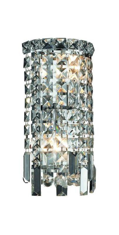 Elegant Lighting 2031W6C Maxim 2-Light Crystal Wall Sconce Finished