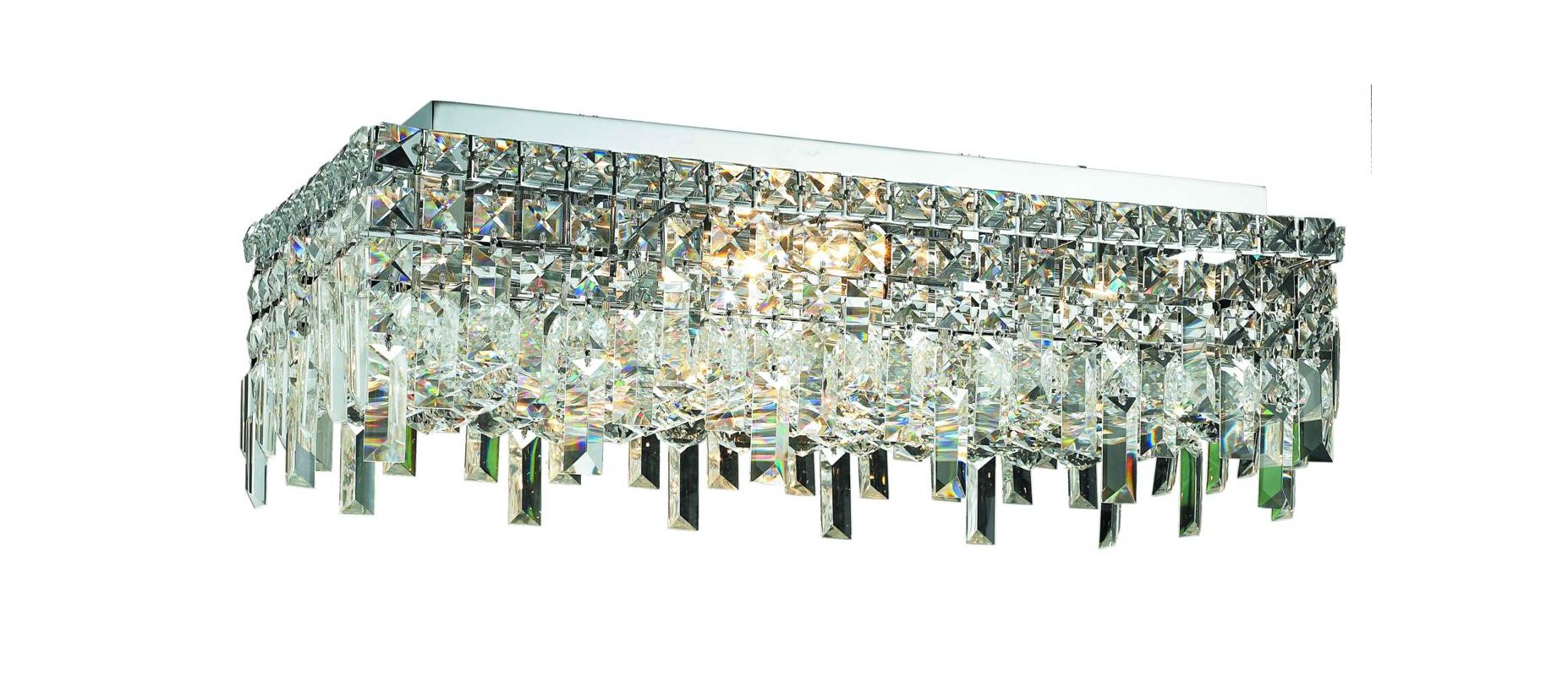 "Elegant Lighting 2035F24C Maxim 6-Light Single-Tier Flush Mount Sale $1170.00 ITEM: bci2013704 ID#:2035F24C/RC UPC: 848145042659 Elegant Lighting 2035F24C Maxim 6-Light, Single-Tier Flush Mount Crystal Chandelier, Finished in Chrome with Clear Crystals Elegant Lighting 2035F24C Features: Base Finish: Chrome with Clear Crystal Choose from Royal Cut, Elegant Cut, Swarovski Spectra or Swarovski Elements Crystal Types: Royal Cut- a combination of high quality, lead-free, machine cut and polished crystals, and full-lead machine-cut crystals, whose appearance rivals that of a more expensive chandelier crystal Elegant Cut- Elegant Cut Crystals consist of 30% high quality full-lead machine-cut crystal that is above industry standards. It possesses sharp faceting polished to a visual radiance Swarovski Spectra- Beautiful and reliable quality crystal by Swarovski Swarovski Elements- An exercise in technical perfection, Swarovski Elements crystal meets all standards of perfection. It is original, flawless and brilliant, possessing lead oxide in excess of 33%. Made in Austria, each facet is perfectly cut and polished by machine to maintain optical purity and consistency Uses (6) 60-Watt Candelabra Base Bulbs (not included) Hanging weight 43 lbs Product Dimensions: 7""H x 12""D x 24""W From the Elegant Lighting Maxim Collection Elegant Lighting, headquartered in Philadelphia, PA, is a premium designer of crystal lighting. Since its inception in the year 2000, Elegant Lighting has made innovative strides in crystal lighting design, that resulted in them becoming the fastest-growing crystal lighting company in the industry. Elegant Lighting actively ensures, throughout every step of production, that the lighting you purchase is a beautiful piece of art, and that it graces your home or business with its sheer perfection. :"
